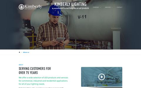 Screenshot of About Page kimberlyledlighting.com - About us - Kimberly Lighting - captured Sept. 20, 2018