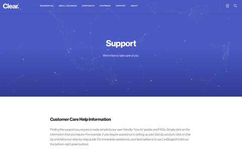 Screenshot of Support Page clear.com.au - Support - captured July 19, 2018