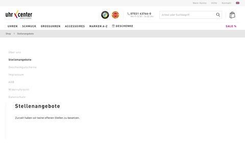 Screenshot of Jobs Page uhrcenter.de - Stellenangebote bei uhrcenter • Uhren & Schmuck Online-Shop - captured Sept. 24, 2018