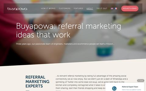 Screenshot of About Page Contact Page buyapowa.com - About Buyapowa & our referral marketing programme - captured Oct. 15, 2016