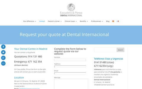Screenshot of Contact Page dentalinternacional.es - Contact Dental Internacional Centre - Centro Dental Internacional Auditorium - captured Nov. 1, 2016