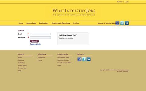 Screenshot of Login Page wineindustryjobs.com.au - Wine Industry Jobs - captured Oct. 26, 2014
