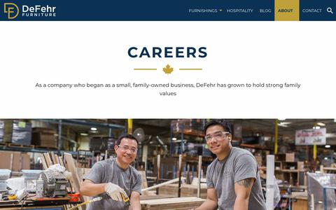 Screenshot of Jobs Page defehr.com - Careers with DeFehr Furniture - Case Good Manufacturing - captured Oct. 8, 2018
