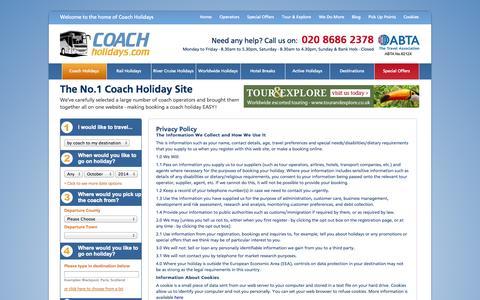 Screenshot of Privacy Page coachholidays.com - Privacy Policy - Coach Holidays - captured Sept. 24, 2014
