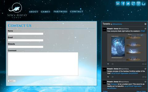 Screenshot of Contact Page spacerhinogames.com - Contact Us | Space Rhino Games - captured June 18, 2017