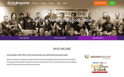 Screenshot of Jobs Page verticalresponse.com - Join the VerticalResponse Team   VerticalResponse - captured Feb. 15, 2016