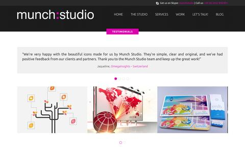 Screenshot of Testimonials Page munchstudio.co.uk - Design services to get started, get noticed and be remembered   Design services for small business – Read reviews - captured Oct. 7, 2014