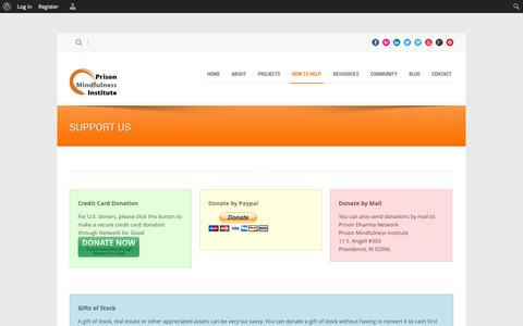 Screenshot of Support Page prisonmindfulness.org - Prison Mindfulness Institute   » Support Us - captured Oct. 3, 2014