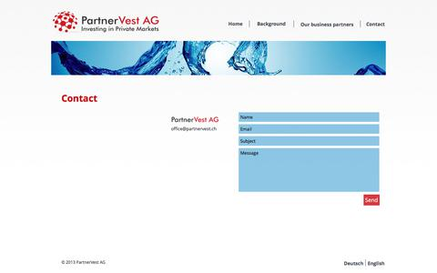 Screenshot of Contact Page partnervest.ch - PartnerVest AG - Contact - captured July 14, 2017