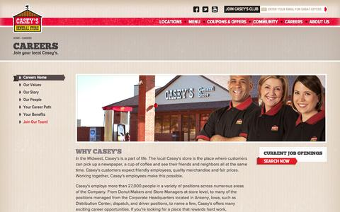 Screenshot of Jobs Page caseys.com - Careers | Casey's General Store - captured Sept. 13, 2014