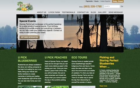 Screenshot of Home Page oponayfarms.com - U Pick Blueberries Lakeland | U Pick Peaches | U Pick Blackberries - captured Oct. 7, 2014