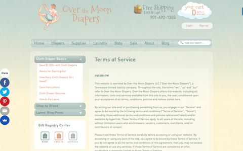 Screenshot of Terms Page overthemoondiapers.com - Terms of Service - captured July 1, 2017