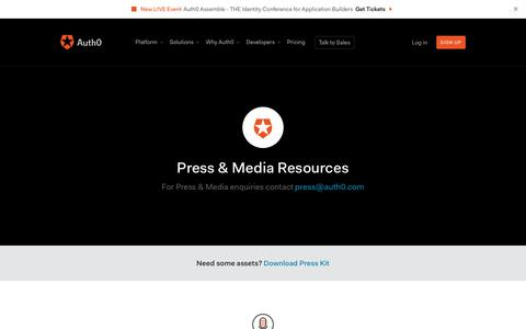 Screenshot of Press Page auth0.com - Press & Media Resources - Auth0 - captured Jan. 27, 2020