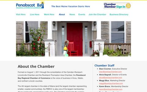 Screenshot of About Page mainedreamvacation.com - About the Chamber | Penobscot Bay Region Chamber of Commerce - captured Oct. 2, 2014