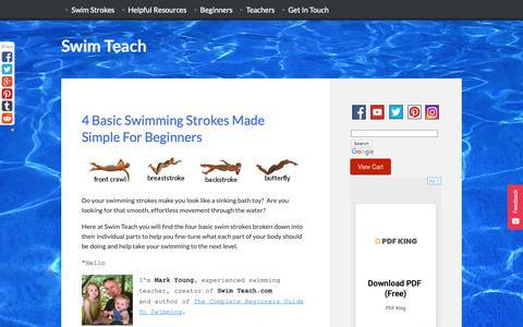 Screenshot of Home Page swim-teach.com - Swimming Strokes Broken Down Into Individual Parts - captured Nov. 16, 2018