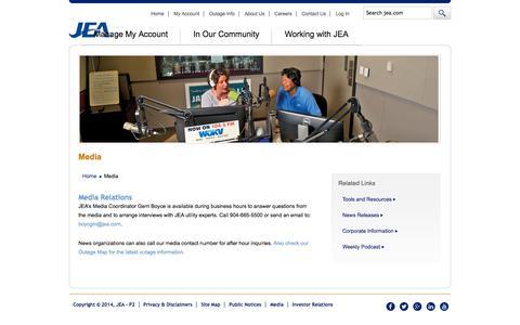 Screenshot of Press Page jea.com - Media - captured Sept. 19, 2014
