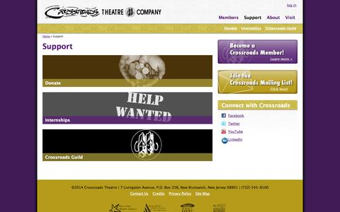 Screenshot of Support Page crossroadstheatrecompany.org - Support | Crossroads Theatre Company - captured Sept. 30, 2014