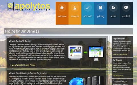 Screenshot of Pricing Page apolytosdesign.com - Pricing for Our Services - Apolytos Web & Print Design - captured Feb. 6, 2016