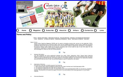 Screenshot of Terms Page soccercoachingmagazine.com - Soccer Coaching Magazine - Terms and Condition - captured June 13, 2016
