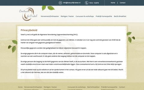 Screenshot of Privacy Page natuurlijk-beter.nl - Contact | Centrum de Cirkel | Brucht | Hardenberg - captured Sept. 27, 2018
