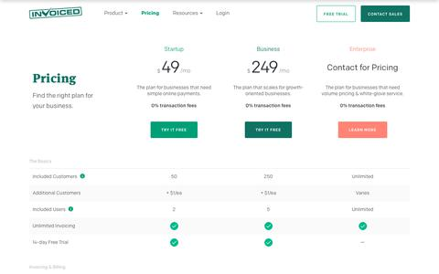 Screenshot of Pricing Page invoiced.com - Invoiced | Pricing - captured March 8, 2018