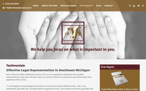 Screenshot of Testimonials Page melissapearcelaw.com - Testimonials - Law Office of Melissa M. Pearce, PLC - captured Oct. 30, 2016