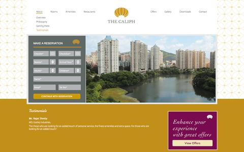 Screenshot of Testimonials Page thecaliphhotel.com - The Caliph | Hotel & Apartment for the Business Elite. 5 minutes from Mumbai         International/Domestic Airport. - captured Oct. 7, 2014
