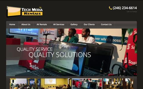 Screenshot of Home Page techmediarentals.com - Tech Media Rentals – Projector Rentals in Barbados; TV Rentals in Barbados; PA System Rentals In Barbados; Laptop Rentals In Barbados; Conference AV Services | - captured Aug. 12, 2016