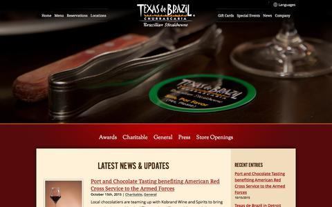 Screenshot of Press Page texasdebrazil.com - News | Texas de Brazil - Brazilian Steakhouse - captured Jan. 17, 2016