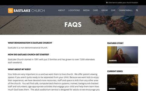 Screenshot of FAQ Page eastlakechurch.com - FAQs | EastLake Church - captured Nov. 4, 2018