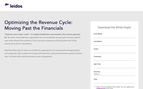 Screenshot of Landing Page leidos.com - White Paper: Optimizing the Revenue Cycle | Leidos Health - captured Jan. 29, 2019