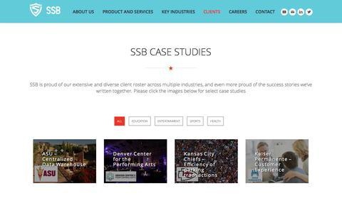 Screenshot of Case Studies Page ssbinfo.com - Case Studies - SSB - captured Sept. 9, 2016