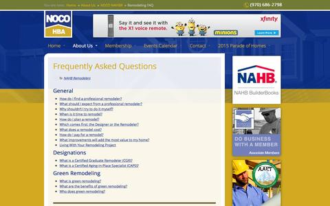 Screenshot of FAQ Page nocohba.com - Remodeling FAQ - NoCO HBA - captured Feb. 26, 2016