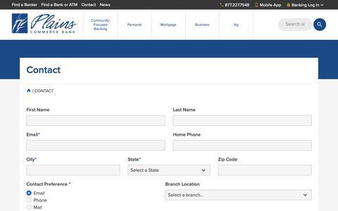 Screenshot of Contact Page plainscommerce.com - Contact   Plains Commerce Bank - captured Sept. 28, 2018