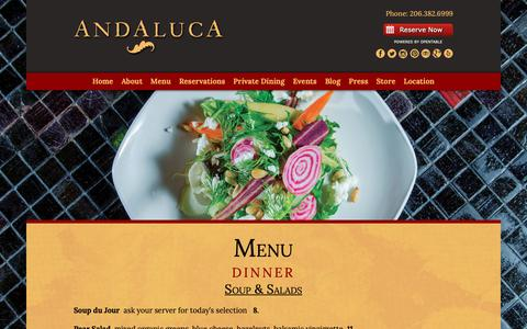Screenshot of Menu Page andaluca.com - Dinner « Andaluca Restaurant - captured Oct. 22, 2018