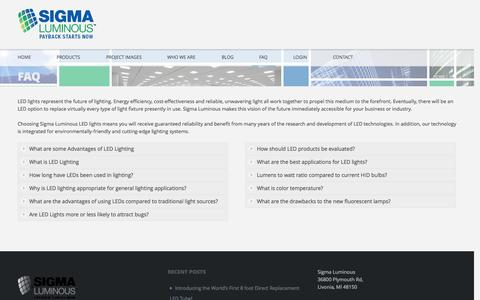 Screenshot of FAQ Page sigmaluminous.com - FAQFrequently Asked Questions About LED |  | Sigma Luminous - captured Oct. 26, 2014
