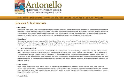 Screenshot of Testimonials Page nellocucina.com - Testimonials about Antonello Ristorante in Santa Ana, California - captured Aug. 12, 2016