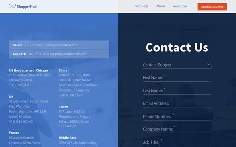 Screenshot of Contact Page shoppertrak.com - Business Intelligence - Contact | ShopperTrak - captured Feb. 15, 2016