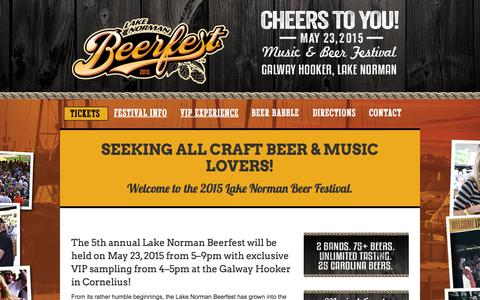 Screenshot of Home Page lknbeerfest.com - Welcome - Lake Norman Beer Festival - captured Sept. 20, 2015