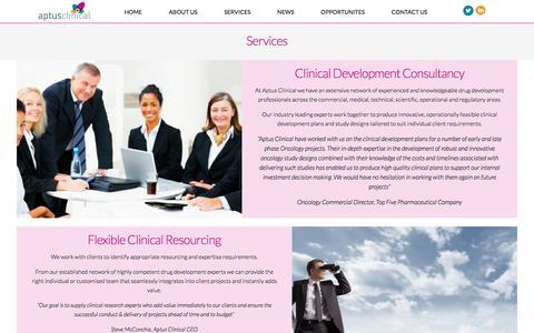 Screenshot of Services Page aptusclinical.com - Services   Aptus Clinical - captured Oct. 8, 2017