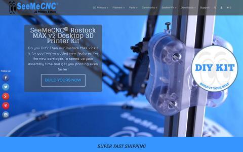 Screenshot of Home Page seemecnc.com - SeeMeCNC® Desktop 3D Printers and more - captured Sept. 7, 2015