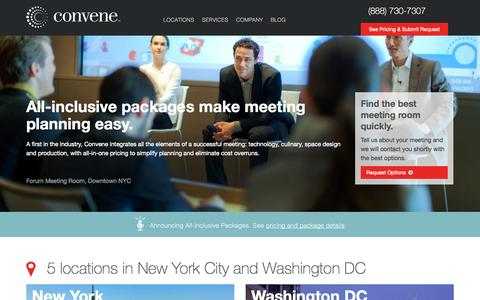 Screenshot of Locations Page convene.com - Convene | Meeting Rooms & Conference Centers in NYC & DC - captured Nov. 2, 2014