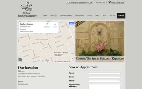 Screenshot of Contact Page Maps & Directions Page southernexposuresalonandspa.com - CONTACT - thespaats42479580-142846-sml-1 - captured Oct. 25, 2014