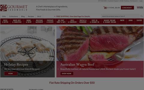 Screenshot of Home Page gourmetfoodworld.com - Gourmet Foods - Cheese, Fresh Truffles, Baking Chocolate, Valrhona Chocolates, Gourmet Recipes, Gourmet Food Gifts - Gourmet Food World - captured Dec. 12, 2015
