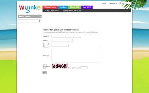 Screenshot of Contact Page wilinku.com - Contact us - captured Oct. 1, 2014
