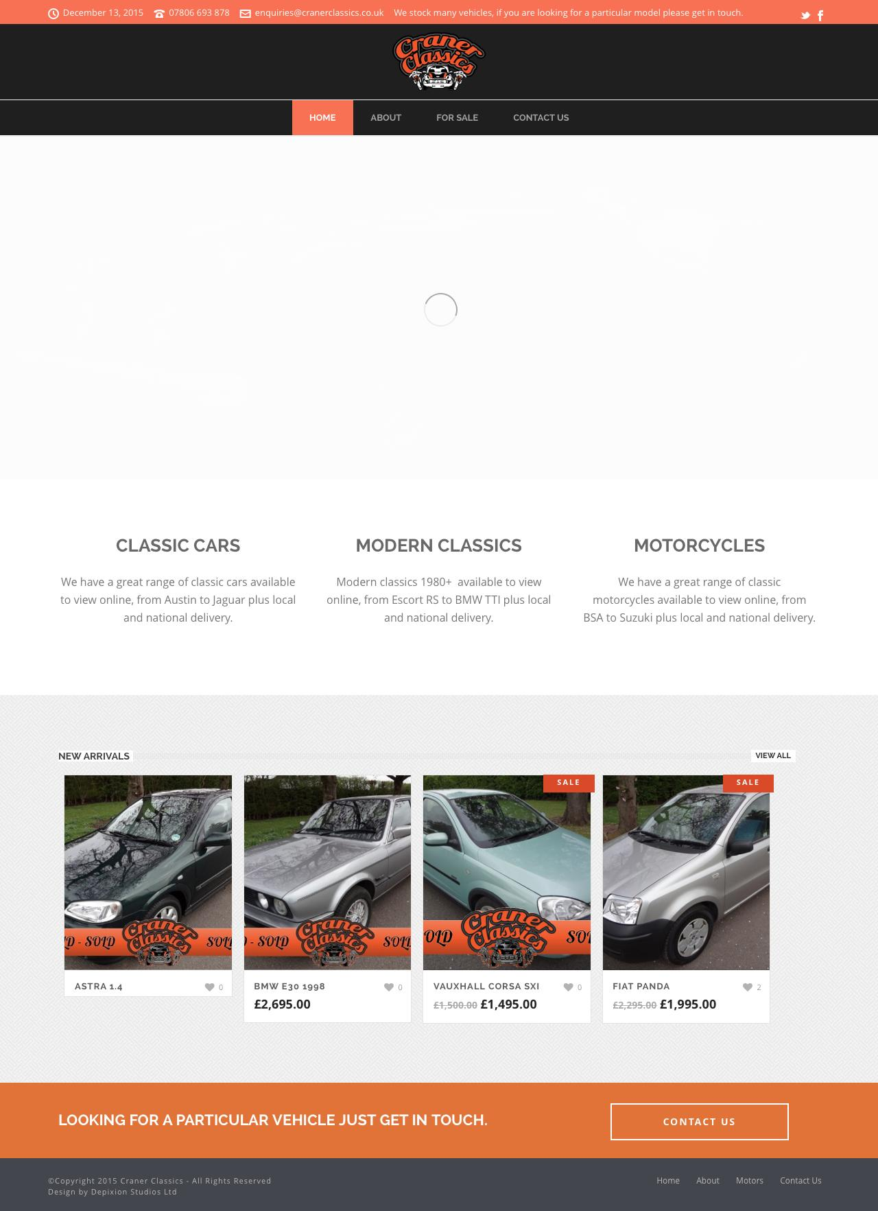 Web Design Example | A page on cranerclassics.co.uk | Crayon
