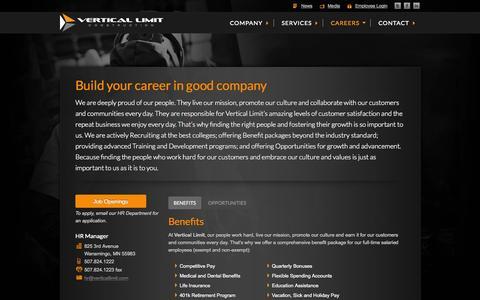 Screenshot of Jobs Page verticallimit.com - Construction Jobs | Telecommunication Jobs | Vertical Limit Construction - captured Oct. 7, 2014