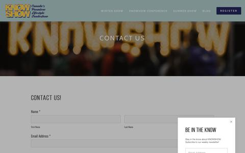 Screenshot of Contact Page knowshow.ca - Contact — KNOWSHOW - captured Nov. 4, 2018