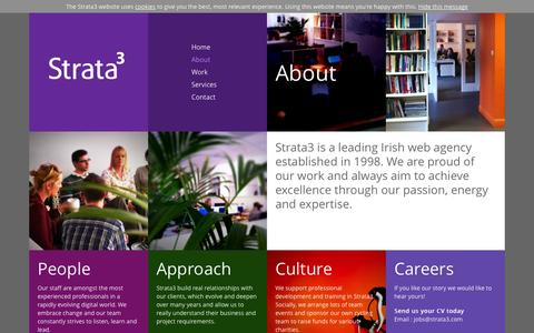 Screenshot of About Page strata3.com - Learn about the company culture, people and our relationship with our clients - Strata3 - captured Oct. 7, 2014