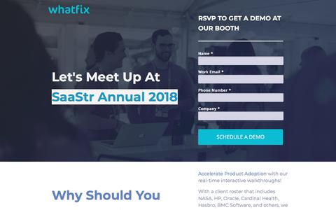 Screenshot of Landing Page whatfix.com - Meet Whatfix at SaaStr 2018 - captured March 2, 2018